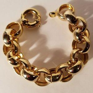 Vintage Circle Chunky Goldtone Bracelet
